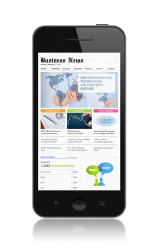 High quality illustration of modern mobile smartphone with business media website on a screen. Isolated on white background.